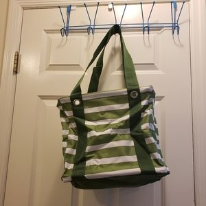 Thirty-One Small Utility Tote Green Cabana Stripe